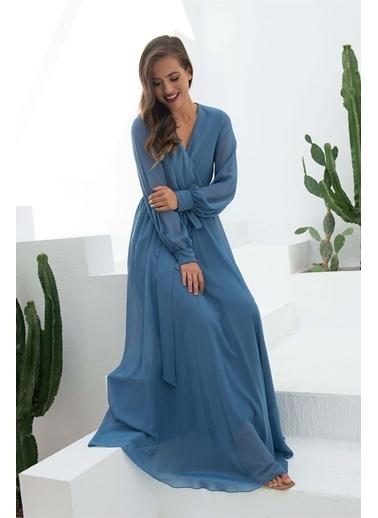 Carmen Indigo Şifon Kruvaze Uzun Abiye Elbise İndigo